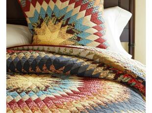 美国代购正品Potterybarn太阳花手工缝制床罩套件 绗缝被三件套,床品,