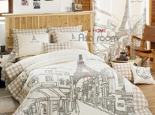 【Asa room】韩国进口代购床品 埃菲尔铁塔纯棉被套四件套 c654,床品,