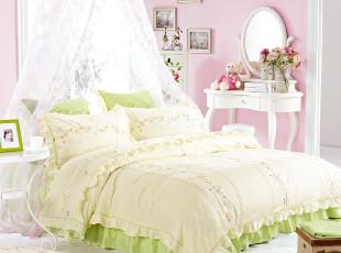 艾秀家纺 床上用品 绿色 韩式 可爱淑女风 绣花 四六件套,床品,