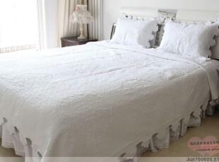 高档韩版外贸加大白色纯棉绗缝被三件套床盖 春秋被夏凉被空调被,床品,