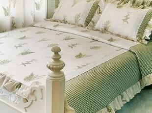 韩国进口代购 高档时尚印花床上用品三件套件套 可定做 绿色,床品,