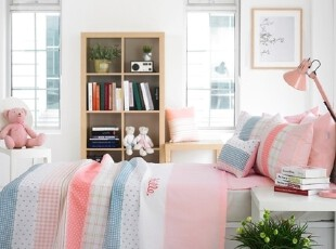 【Asa room】韩国进口代购床品 简约粉色被子床单四件套 c812-p,床品,