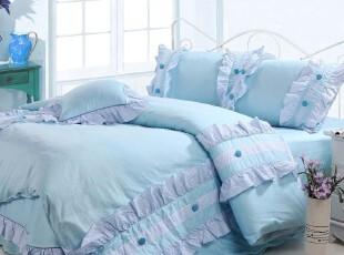 韩式 家纺 公主田园风格 四件套全棉活性印染花边床上用品 韩版,床品,