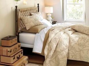 美国代购正品Potterybarn精美绣花素色床罩套件 绗缝被,床品,