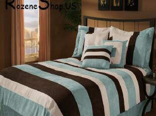 埃及棉全纯棉贡缎床品床单床笠式床上用品四件套 地中海风三拼色,床品,