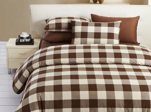 TL家纺 纯棉格纹四件套 全棉床笠式床单 单人双人床 床上用品,床品,