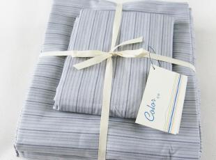 彩棉蓝灰条纹四件套/被套x1床单x1枕套x2/简约素雅 3007b,床品,