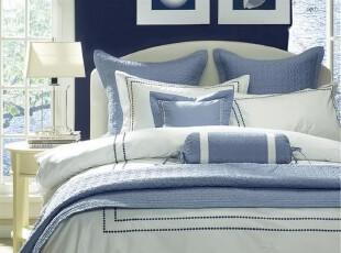 Harbor House  床上用品 Hotel Dots 全棉绣花被套 白底蓝点,床品,
