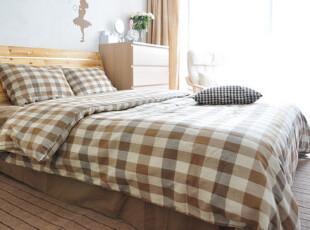柏文家适 外贸全棉朝阳格子床单四件套1.8床MUJI无印良品风 二色,床品,
