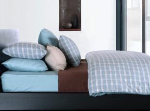 TL家纺 全棉格纹四件套 纯棉床笠式床单式 单人双人床 床上用品,床品,