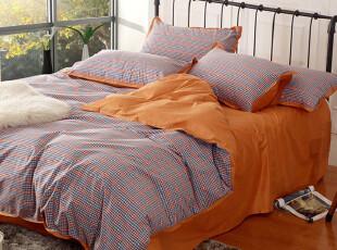 UM 床上用品潮流床品创意时尚纯棉斜纹色织布四件套格子多款入,床品,