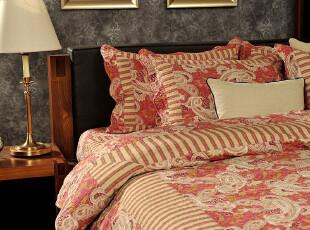 JF2589 日本丸井百货外贸尾单 绗缝被四件套 床盖 红色佩斯利,床品,