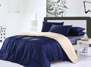 UM 床上用品潮流床品时尚纯色拼色三色纯棉斜纹四件套送钢琴枕套,床品,
