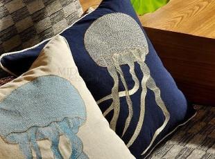 F2366 外贸单 棉麻 高密刺绣 精品抱枕套 靠垫套 水母,床品,