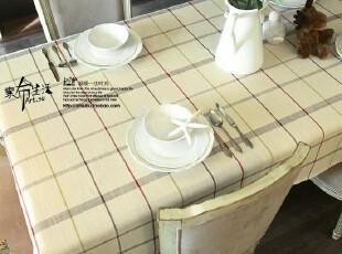 【素布生活馆】地中海美式亚麻/棉麻方格子桌布/台布/盖布●贝丝,床品,
