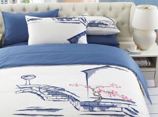 TL家纺 全棉绣花纯色素色四件套 纯棉床单床笠式 江南 床上用品,床品,