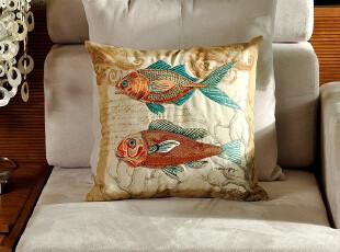 F2392 外贸尾货 棉麻 精品高密刺绣 靠枕套 抱枕套 海鱼系列二,床品,