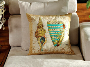 F2390 外贸尾货 棉麻 精品高密刺绣 靠枕套 抱枕套 海螺系列一,床品,
