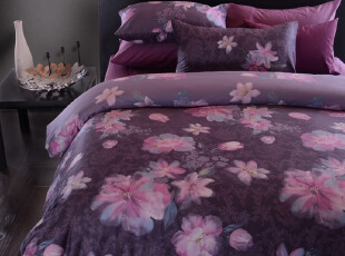 TL家纺 全棉贡缎活性印花四件套 纯棉床笠式床单式 床上用品,床品,