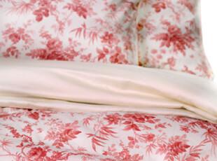 特价出口外贸复古水彩花鸟 红色婚庆 纯棉斜纹贡缎四件套床上用品,床品,