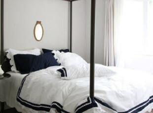 【韩国家居直送】原味白和蓝 优雅棉蕾丝花边棉质床品套件,床品,