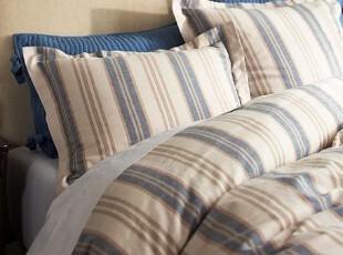 简单的奢华 杰登蓝色清爽竖条纹设计纯棉被套,床品,