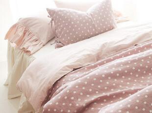 11.18【韩国床品-可定做】很有爱~粉色波点棉麻床品 被套枕套床裙,床品,