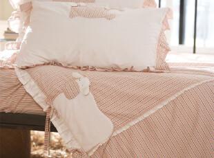 淑女屋床品 田园风橙灰条纹奶牛纯棉床单四件套FOAJAB0C03,床品,
