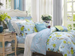富安娜 玉露清华 正品 床单四件套 全棉斜纹套件 床上用品1.5床,床品,