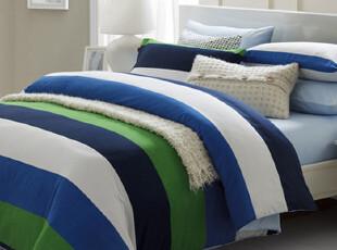 TL家纺 纯棉贡缎活性印花四件套 全棉床单床笠式 条纹 床上用品,床品,