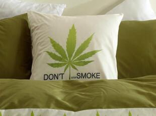 UM 床上用品潮流床品创意方枕套单个麻叶抱枕(带芯)床品,床品,