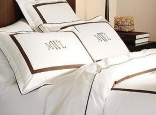 简单的奢华 限时9折 意大利制造摩根400线纯棉纯白咖啡线条被套,床品,