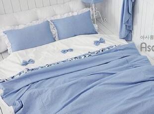 【Asa room】韩国进口床品 简约蓝色格子被套地板用四件套 c714-3,床品,