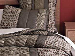 【纽约下城公园】埃里克素色花拼接条纹绗缝被+枕套(适合春秋),床品,