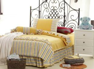 金色童年 陌上花开韩式卡通手工色织粗棉布高级环保定制床品/窗帘,床品,