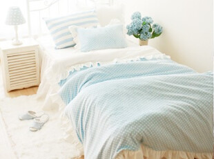 【韩国定做床品】mc2239 公主卧室蓝色点点温暖茸茸床品套件,床品,
