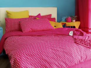 MMK美美客多喜爱 拉嘟丽 床上用品 全棉平纹波点四件套 纯棉家纺,床品,