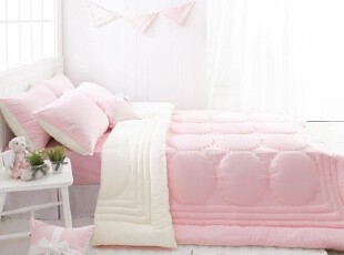 【Asa room】特价韩国进口代购床品公主粉白双面纯棉三件套c716-p,床品,