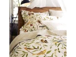 简单的奢华 美式乡村田园花鸟凉爽有机纯棉被套枕套三件套,床品,