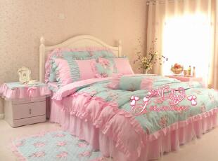 家纺床上用品四件套纯棉韩国式田园公主全棉被套4件套他她爱代购,床品,