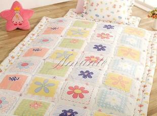 『韩国进口家居』mc1449 五彩格子小花朵儿童地床套件,床品,