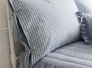 韩国进口代购 海洋蓝色小格子靠枕套/床头靠 不含芯,床品,
