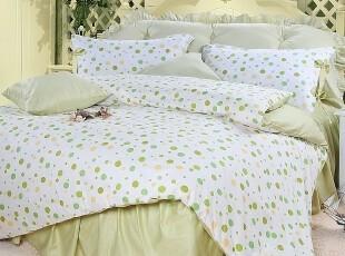 壹零正品 韩版lolita淑女公主床品套件床罩床裙四件套 绿色点点,床品,