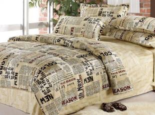 布艺家纺 全棉床单式 纯棉 半活性 四件套欧美风 英文报纸图案,床品,