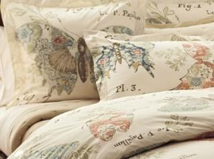 简单的奢华 清新蝴蝶速写凉爽有机纯棉被套枕套三件套,床品,