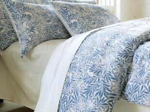 原创水洗 纯亚麻 全棉四件套 英国田园床上用品 乡村靛蓝 包邮,床品,
