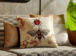 F2345-1 外贸单 棉麻 高密刺绣 精品抱枕套 昆虫系列 蜜蜂,床品,