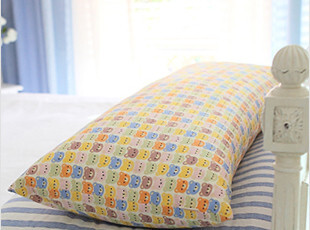 韩国代购100%纯棉卡通小熊图案大号双人长枕儿童布艺枕头抱枕睡枕,床品,