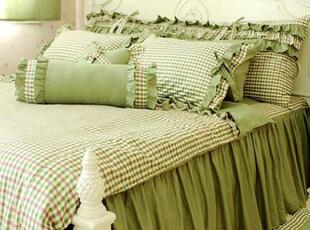 韩国田园公主可爱绿色小格子 床品三四件套 淑女屋系列床上用品,床品,