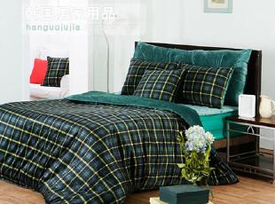 【Asa room】韩国进口代购床品 短绒格子纹被套四件套 绿色c167-g,床品,